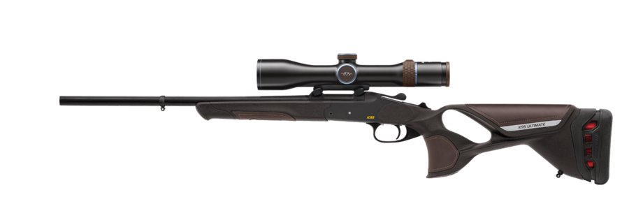 The K95 Ultimate Leather with optional recoil absorption system, scope Blaser 2.8–20x50 iC and mount